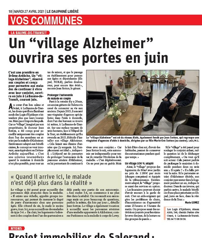 Le Dauphiné Un village Alzheimer ouvrira ses portes en juin